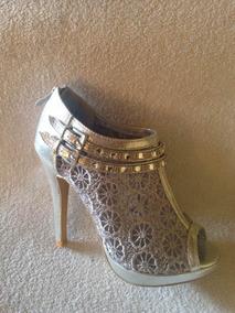 Zapato/ Encaje Color Plata Strass..37