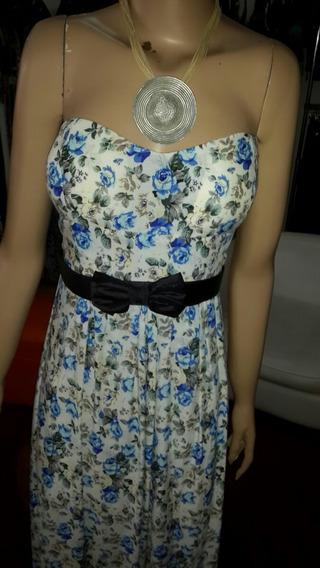 Vestido Strapless Floreado Largo...
