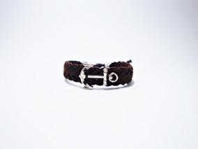 Pulseira Bracelete Masculina De Camurça Com Âncora De Metal