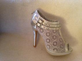 Zapato Color Plata Encaje / Strass ! 37