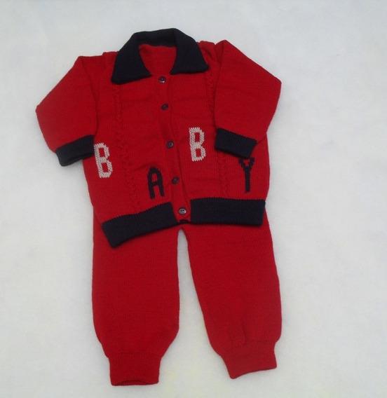 Agasalho Bordado Baby Aberto Frente Gola Polo Calças Ref.121
