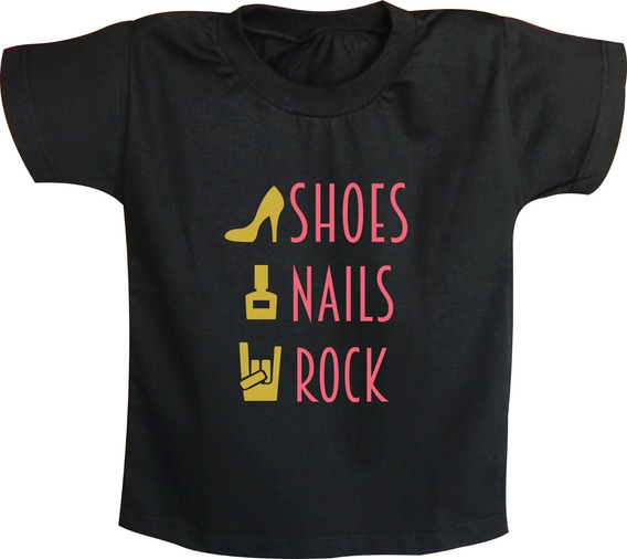Camiseta Infantil Feminina Shoes Nails Rock N´ Roll Bandas
