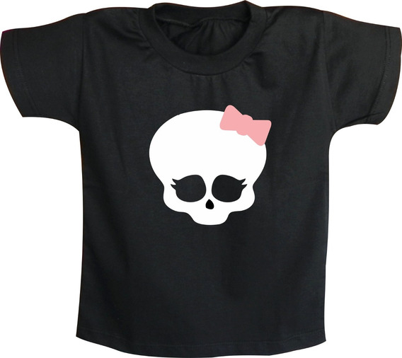 Camiseta Infantil Caveira Feminina Rock N