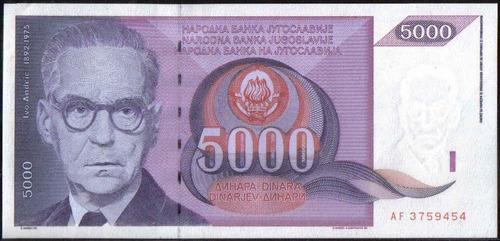 Imagen 1 de 2 de Yugoeslavia 5000 Dinares 1991 P111
