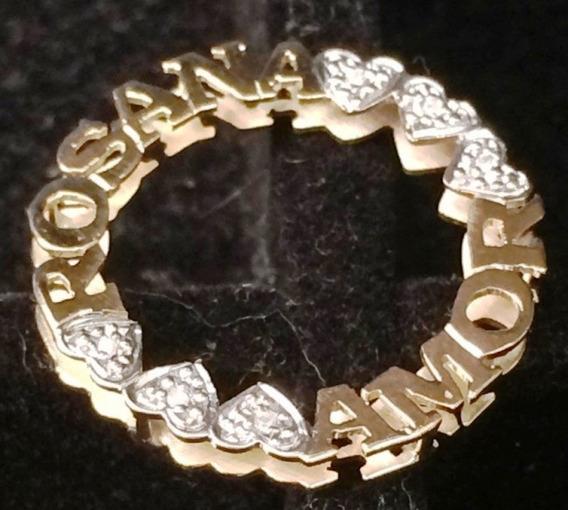 Colar Nome Mandala Ouro 18k Brilhante Com 3cm Dupla