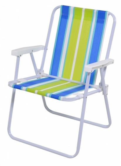 Cadeira De Praia Alta Alumínio Mor Cores Variadas
