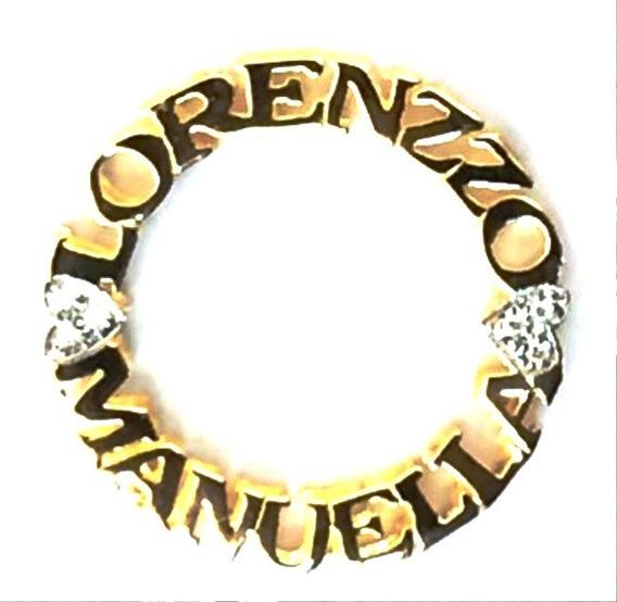 Colar Nome Mandala Ouro 18k Brilhante 2 Nomes 2 Coraçoes 3cm