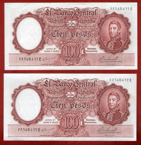 Lote 2 Billete 100 Pesos Lyeyes 12962 Y 13571
