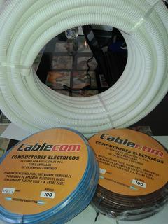 Cable 2,5mm 2 Rollos + Caño Corrugado 3/4 Blanco X 25mts