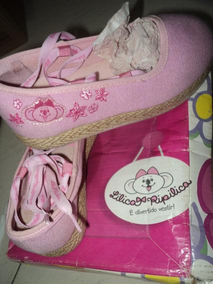 Sapato Sapatilha Alpargatas Lilica Ripilica Rosa Tecido 29
