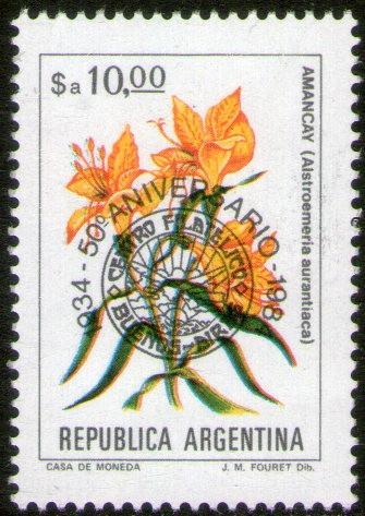 Imagen 1 de 1 de Argentina Sello Mint Resellado 50° Filatelia Bs. As. 1984