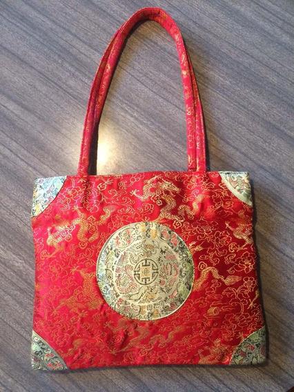 Cartera Roja De Seda - Estampada - Diseño Oriental