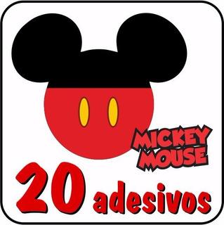 20 Adesivos Mickey Mouse - Cola Parede Madeira Vidro Plástic