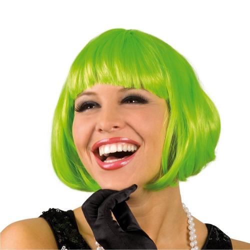 ¡ Peluca Corta Verde De Fantasía Para Fiestas & Halloween !!