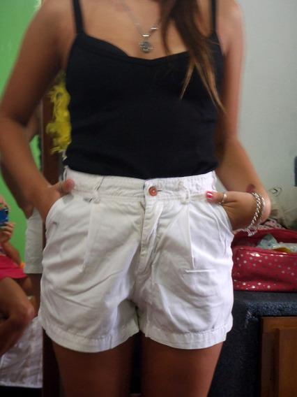 Short Blanco Solido De Mujer Tiro Alto Con Pinzas Elegante