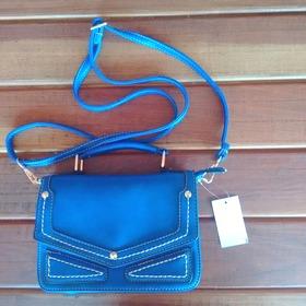Bolsa Vintage Carteiro Azul Retrô Couro Pu - Pronta Entrega!