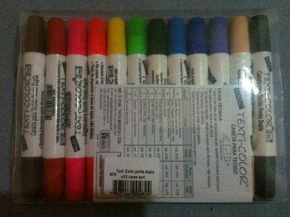 Canetinhas 2pontas Tecido Kit N.1 12cores(temos Mais 12 Core
