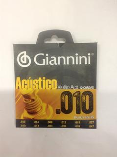 Encordoamento Giannini 0.10 12 Cordas Acústico