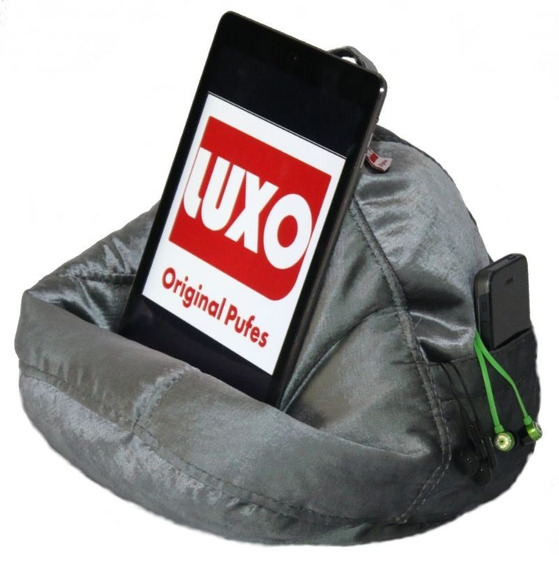 Pufpad - Veludo - Cor Cinza - Suporte Para Tablets E Phones