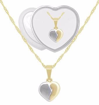 Gargantilha Folheada A Ouro C/ Pingente Em Forma De Coração