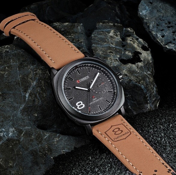 Relógio Pulso Curren Elegante Pulseira Marrom Luxo