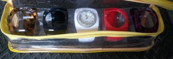 Kit: Relógio Com 5 Pulseiras Em Acrílico