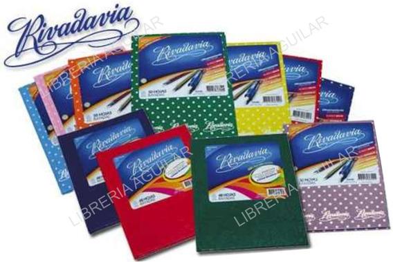 12 Cuadernos Rivadavia Tapa Dura Rayado Cuadri Liso Forrado