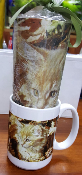 Mug Porcelana Gatos 4 Y Mouse Pad