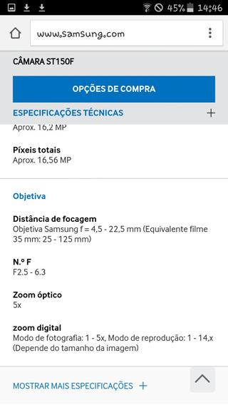 Câmera Samsung St150f.