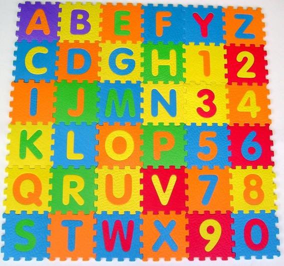 Tapete Infantil Eva 12x12cm Alfanumérico Colorido 36pcs
