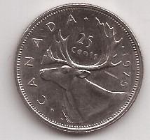 Canada Moneda De 25 Cents De Dollar Año 1975