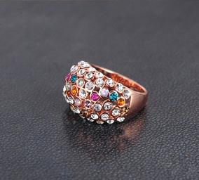 Anéis Real Rose Banhado A Ouro Moda Multicolor