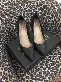 Sapato Santa Lolla 37 Preto Brocado Lindo!!