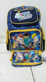 Kit Conjunto Mochila Infantil Estojo Phineas And Ferb
