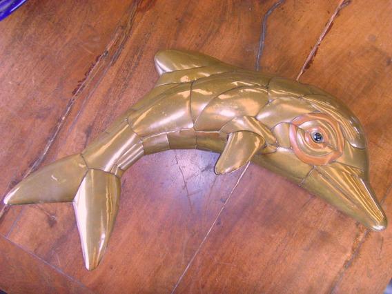 Antigua Escultura Delfin Grande, Laton Y Cobre. Gran Calidad