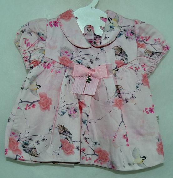 Vestido Sara Com Estampa De Flores E Pássaros - Sku: 10521