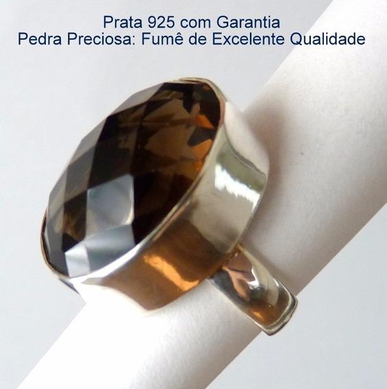 Anel De Prata 925 Com Garantia E Pedra Fumê Ou Morion 8832