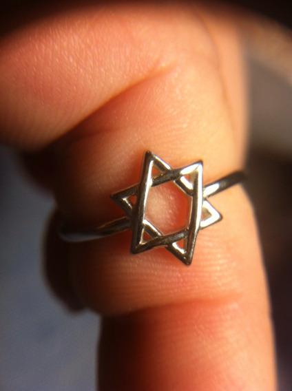 Anel Estrela De Davi Ou David, Prata 925, Aro Regulavel