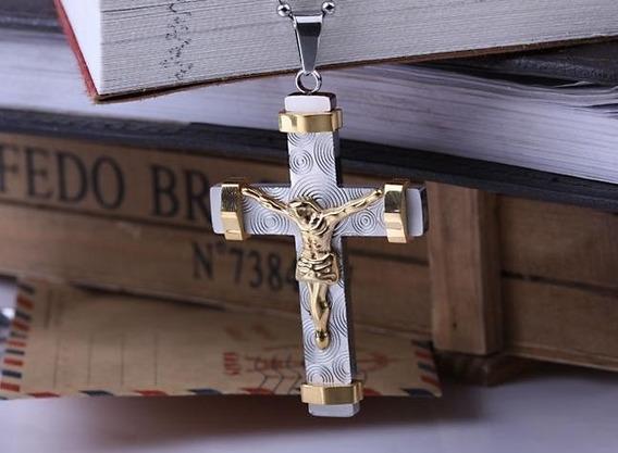 Crucifixo Aço Inox Jesus Dourado Lindo Cruz Corrente J1938