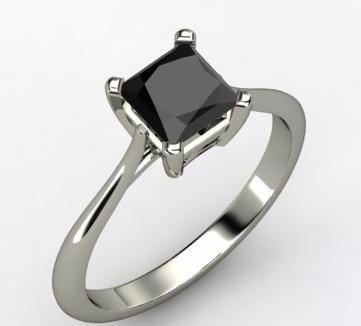Anillo Con Diamante Cultivado Negro 150 Pts. Princess