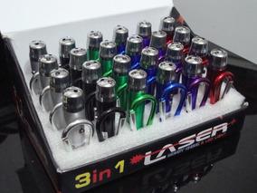 100 Mosquetão 3x1 Laser Led Testa Nota Falsa + 300 Baterias