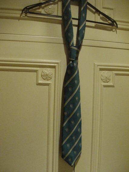 Corbata Escolar C/ Ws Verde Blanco Oro Azul 145cm