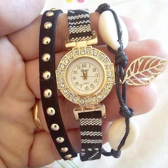 Relógio Feminino Barato Com Pedras E Pingente
