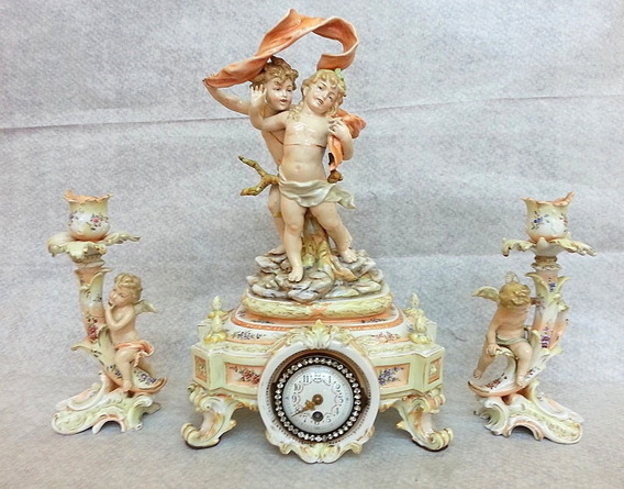 Garniture Reloj Candelabros Porcelana Est Meissen Siglo 19