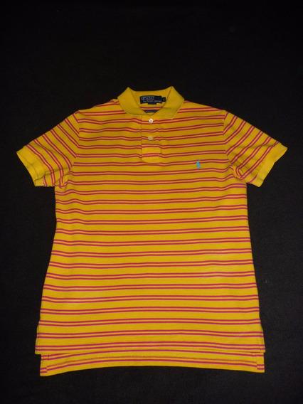 Playera Tipo Polo - Ralph Lauren - Talla S (amarillo/azul)