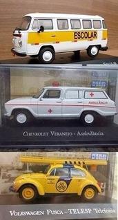 Kit Mini Fusca Telesp Veraneio Ambulanci Kombi Escolar 1:43