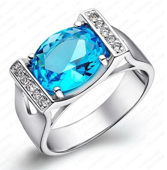 Solitário Banhado A Prata 925 Anel C/ Safira Azul Simulada