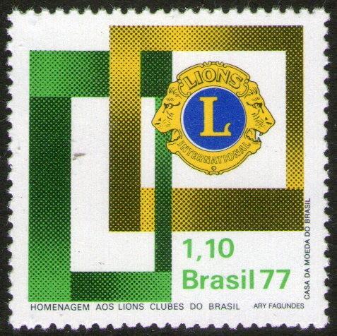Imagen 1 de 1 de Brasil Sello Mint 25° Aniv Club De Leones De Brasil Año 1977