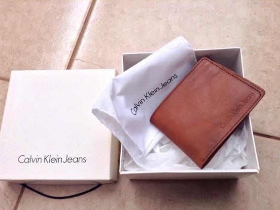 Carteira De Bolso Em Couro Marrom Calvin Klein Original Nova
