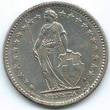 Moneda De Suiza 2 Francos 1968 Muy Buena.